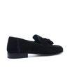 Loafers en daim avec pompons - noir