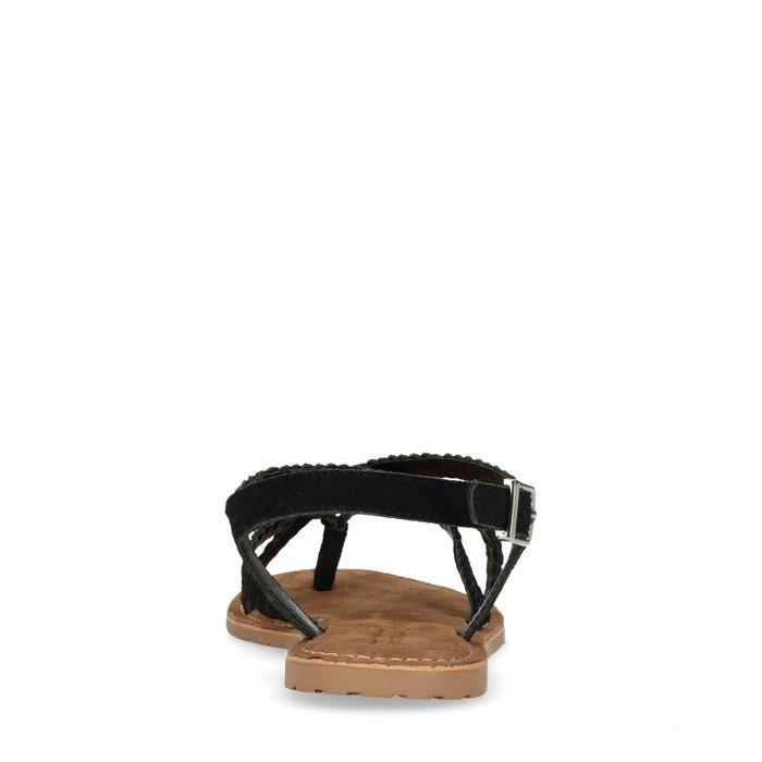 Sandales en daim tressées - noir
