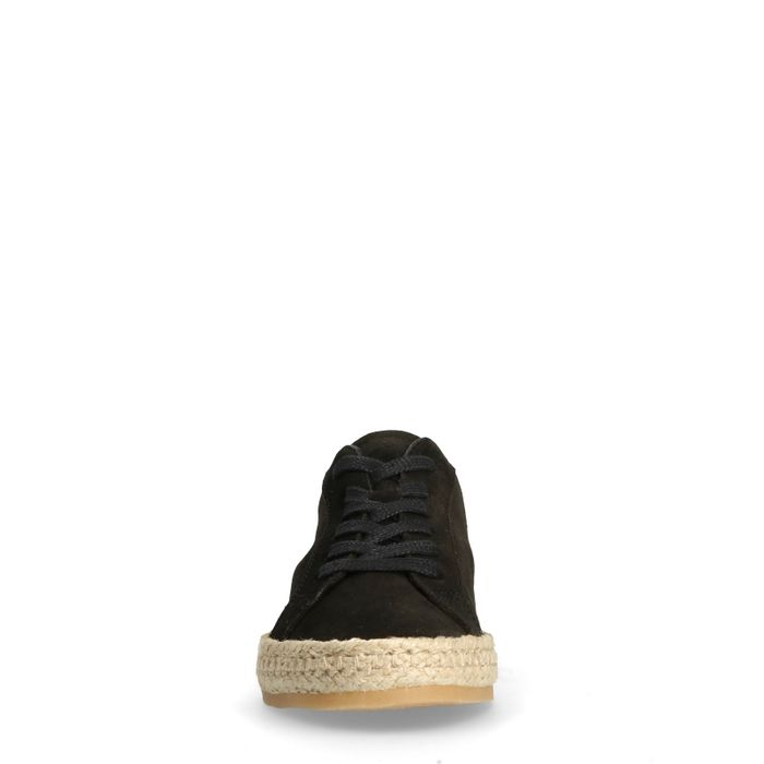 Baskets en daim basses avec semelle corde - noir