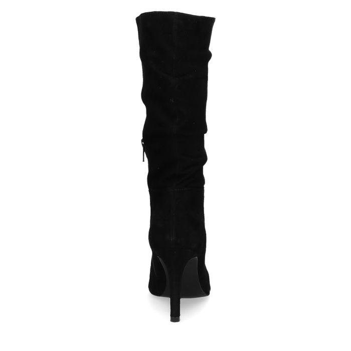 Bottes en daim plissées hautes - noir