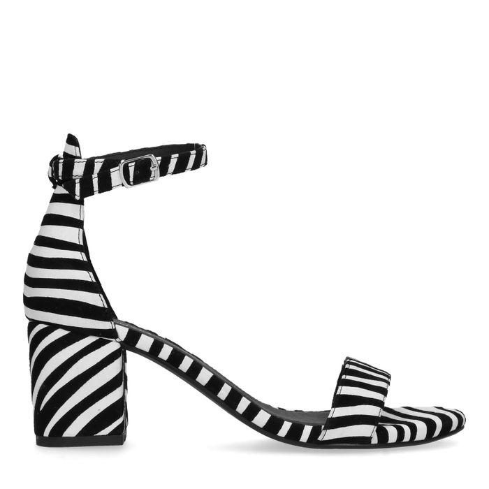 Sandales daim à talon avec imprimé zèbre