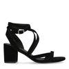 Sandales en daim avec talon bas - noir