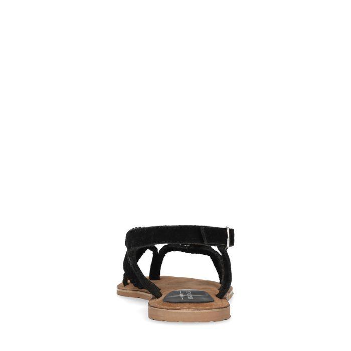 Sandales tressées en daim - noir