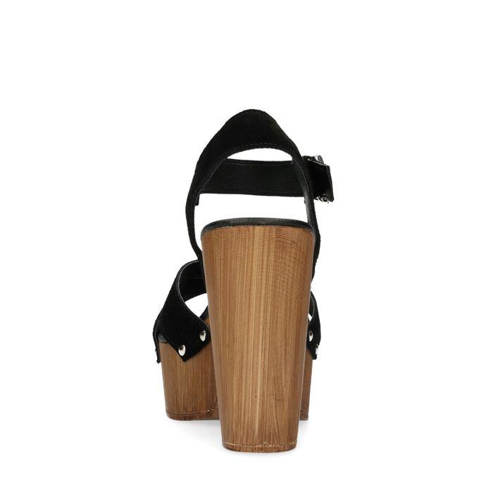 Sandales à talon en daim - noir