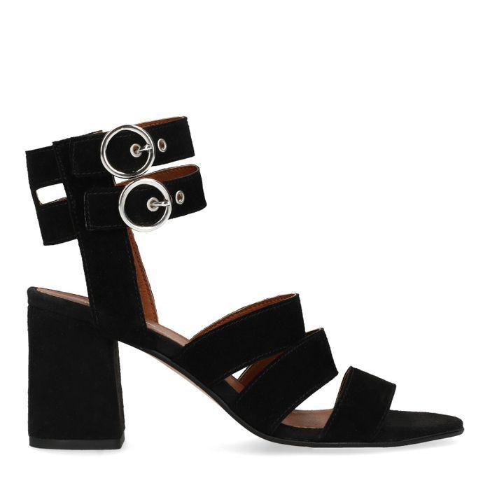 Sandales en daim avec talon et boucles - noir