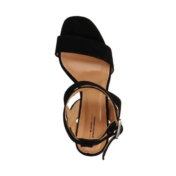 Sandales en daim avec talon cubain - noir