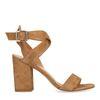 Sandales en daim avec talon cubain - marron clair