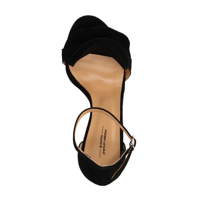 Sandales en daim avec talon et froufrous - noir
