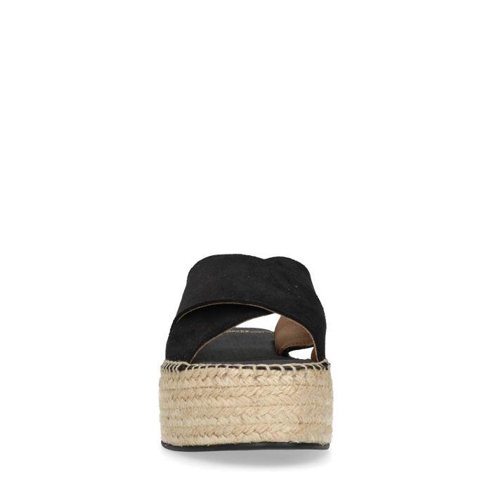 Claquettes en daim avec semelle plateforme - noir