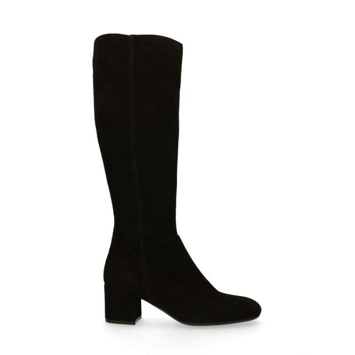 Bottes hautes en daim - noir