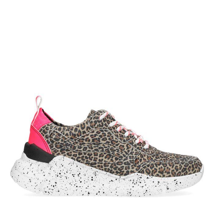 Dad shoes en daim avec imprimé léopard