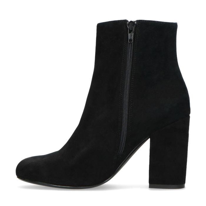 Bottines à talon en daim - noir