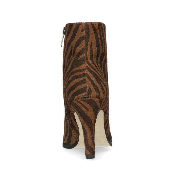 Bottines daim à talon avec imprimé tigre