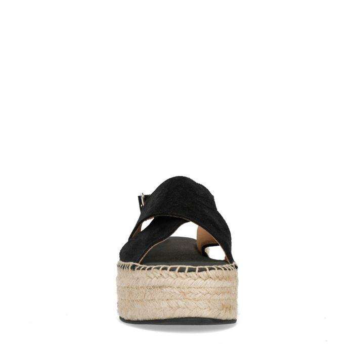 Sandales daim à plateforme - noir