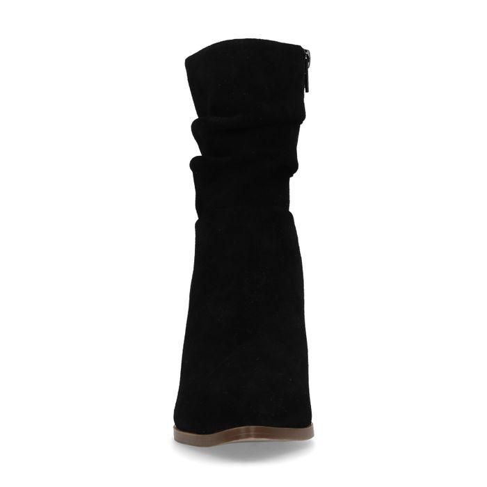 Bottes courtes en daim avec talon - noir