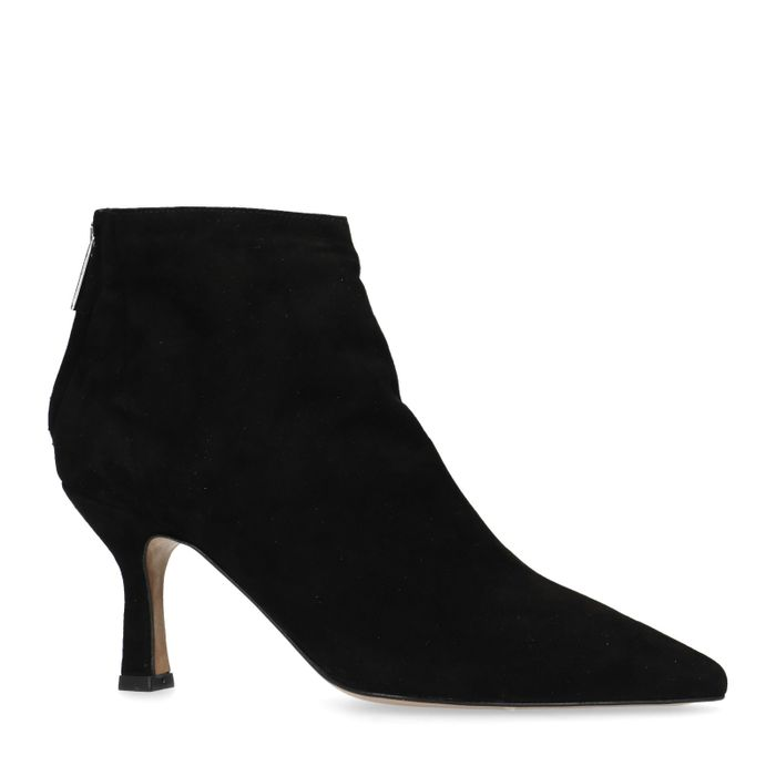 Bottines en daim avec kitten heel - noir