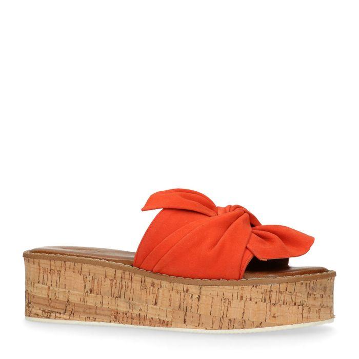 Claquettes en daim à plateforme - orange