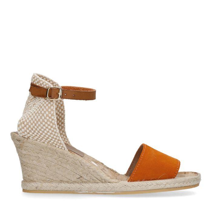 Sandales à talon compensé avec semelle tressée - orange