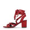 Sandales à talon en daim - rouge