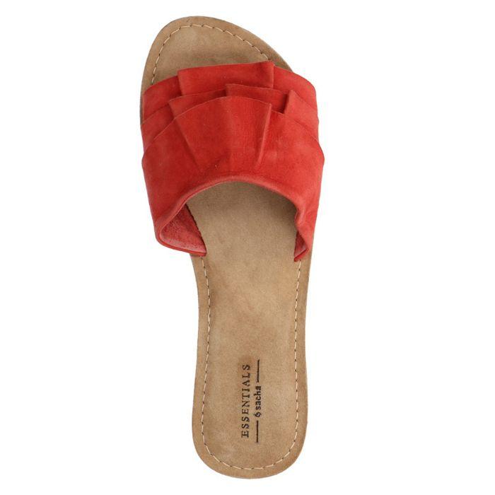Claquettes en daim - rouge