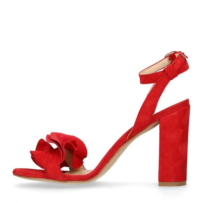 Sandales en daim à talon avec froufrous - rouge