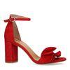 Sandales en daim avec talon et froufrous - rouge