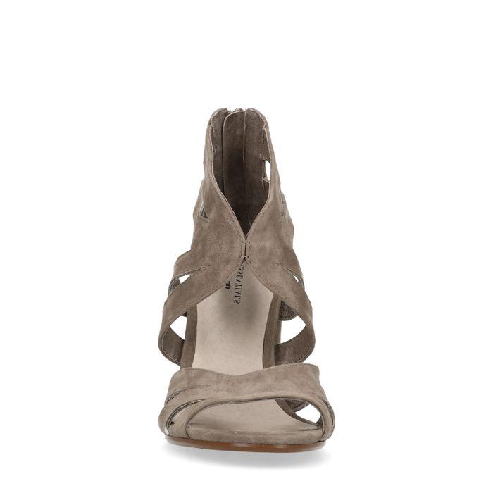 Sandales en daim à talon - taupe