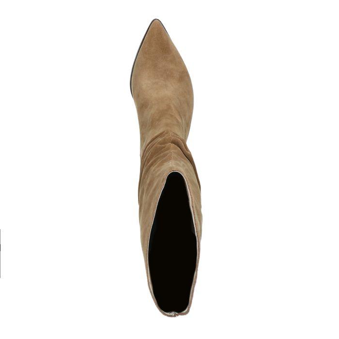 Bottes plissées en daim - taupe