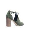 Sandales ajourées en daim à talon - vert