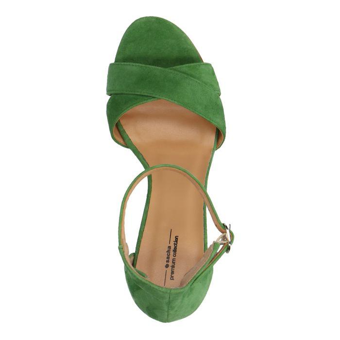 Sandales daim à talon - vert