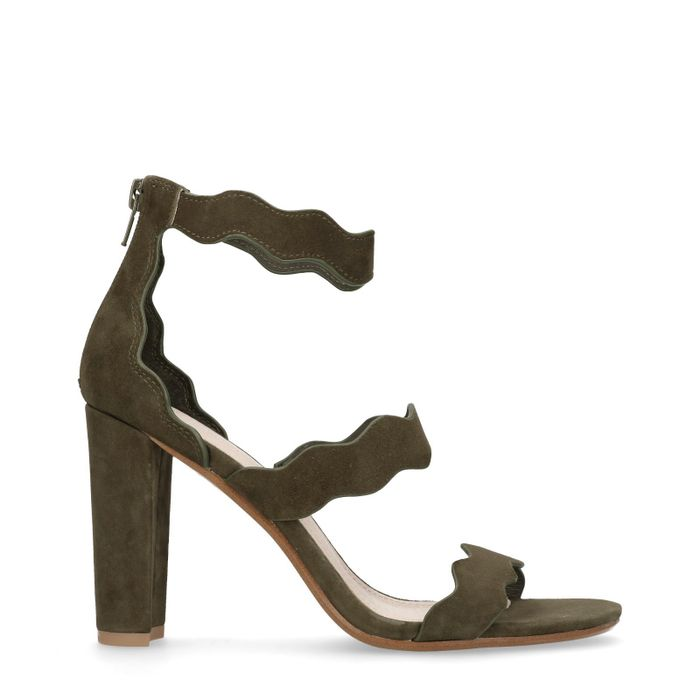 Sandales à talon cubain - vert foncé