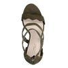 Sandales en daim avec talon cubain - vert foncé