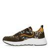 Dad shoes en daim avec imprimé léopard - vert
