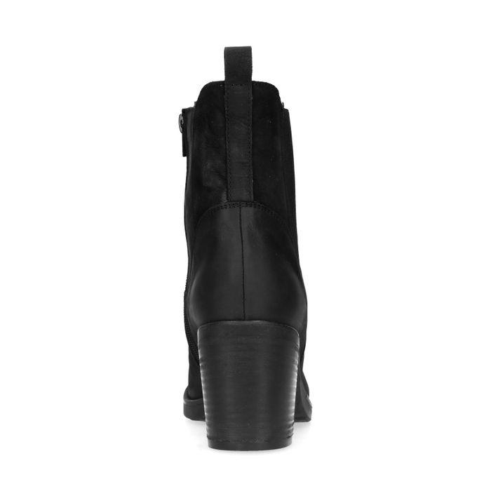 Chelsea boots en nubuck avec talon cubain - noir