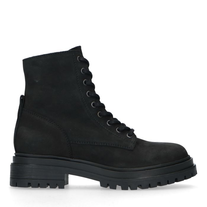 Bottines à lacets en nubuck - noir