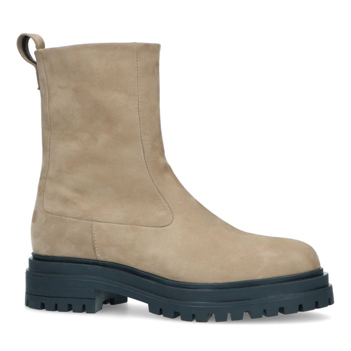 Chelsea boots en nubuck - taupe