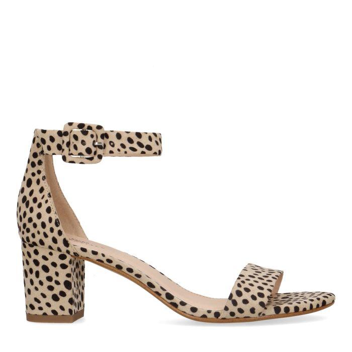 Sandales daim à talon avec imprimé léopard