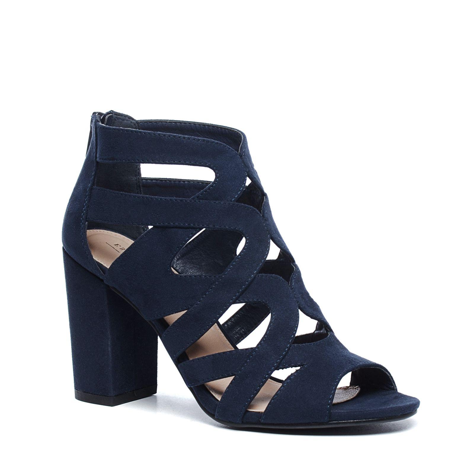 Sandales synthétique ajourées avec talon bleu foncé