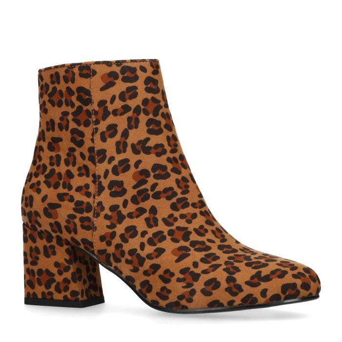 Bottines en suédine avec talon bas et imprimé - léopard