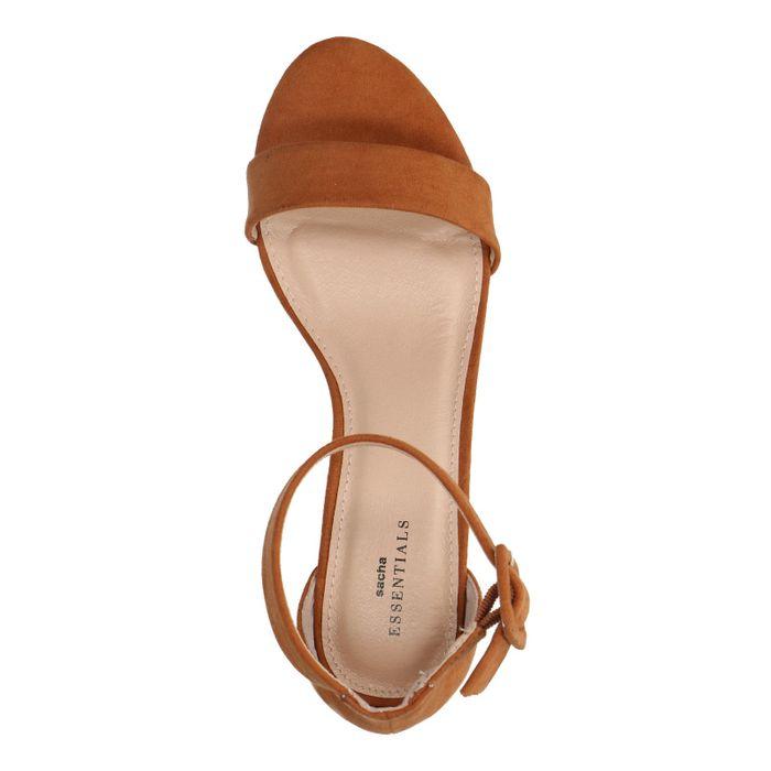 Sandales synthétique à talon - marron