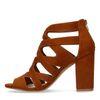 Sandales ajourées en suédine avec talon - marron