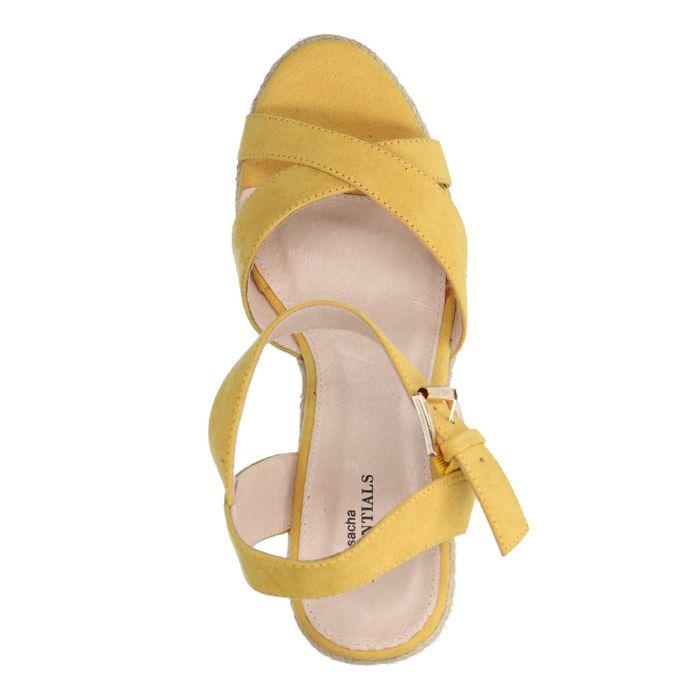 Sandales en daim à talon compensé avec semelle en corde - jaune