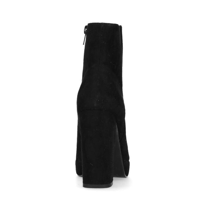 Bottines synthétique avec talon et semelle plateau - noir