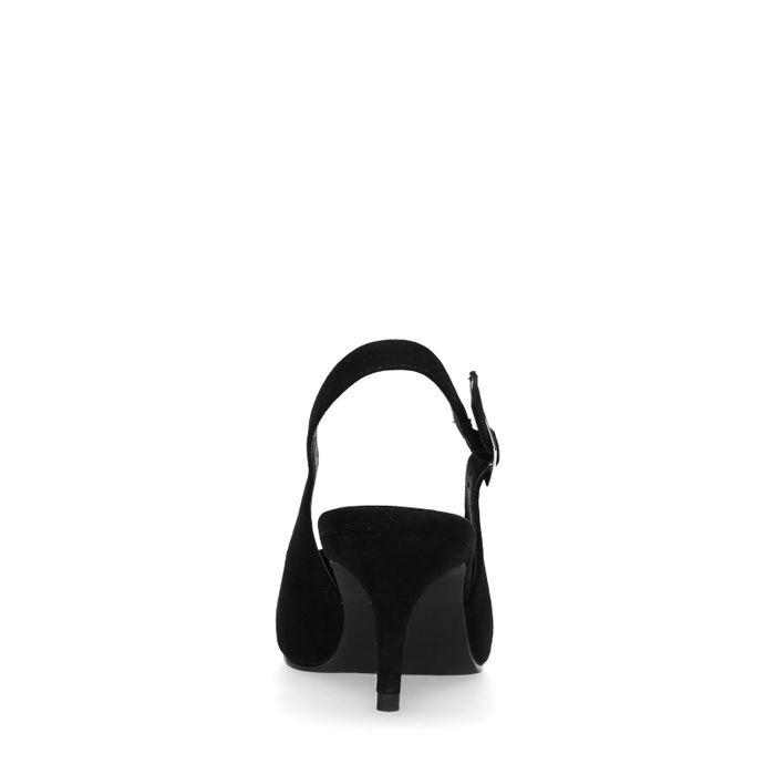 Escarpins suédine ouverts à l'arrière avec petit talon - noir