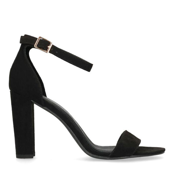 Sandales synthétique vernies à talon - noir