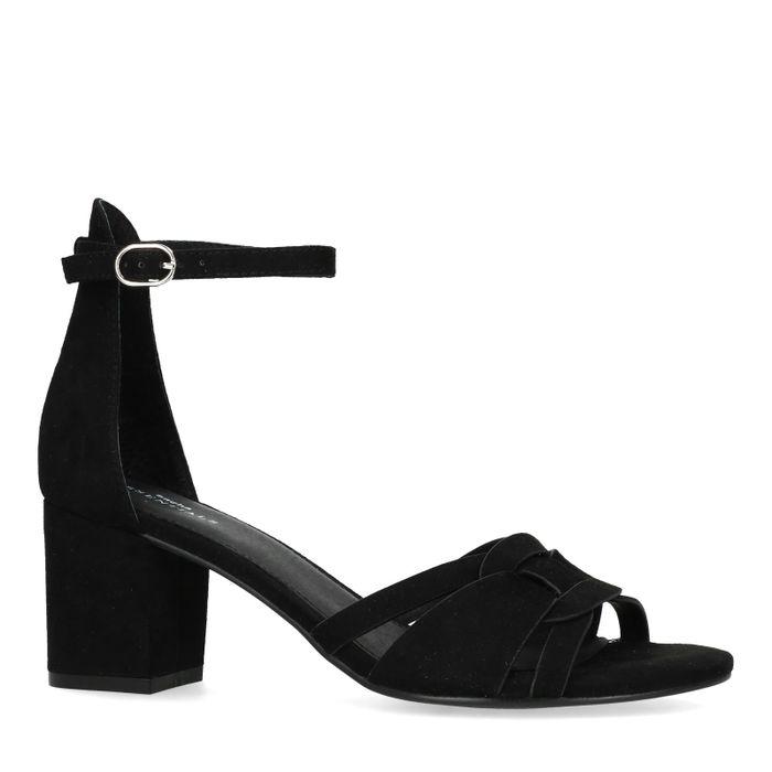 Sandales suédine à talon - noir