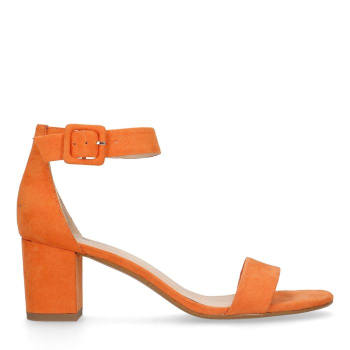 Sandales daim à talon - orange