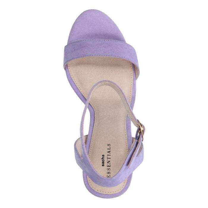 Sandales daim à talon - lilas