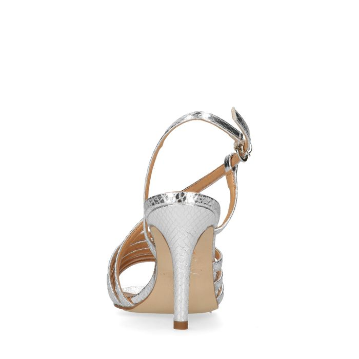 Sandales synthétique à talon - argenté