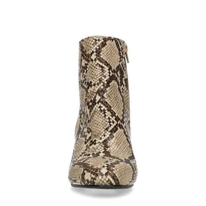 Bottines synthétique avec talon bas et imprimé - serpent